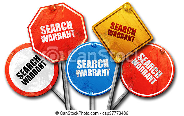 search warrant, 3D rendering, rough street sign collection