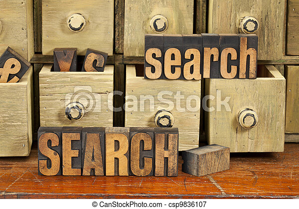 search word concept in wood type - csp9836107