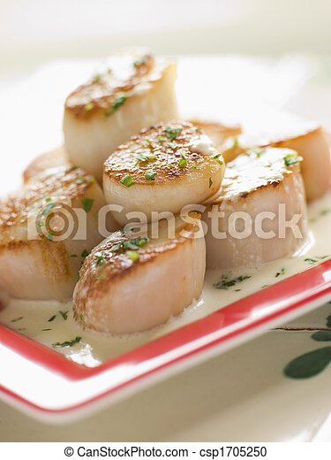 Seared Scallops with Cava Cream and Herb Sauce - csp1705250