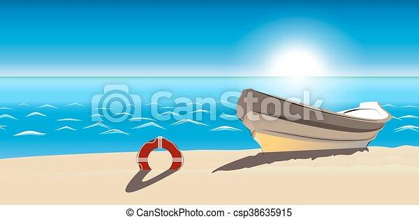 Seascape boat sandy beach vector icon isolated ranking mark modern seascape boat sandy beach vector icon isolated voltagebd Choice Image