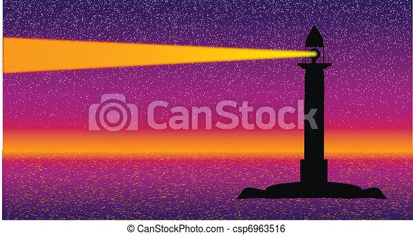 seascape, farol, noturna - csp6963516