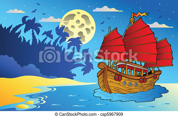 seascape, navio, chinês, noturna - csp5967909