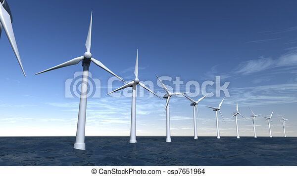 Seascape of offshore wind turbines - csp7651964