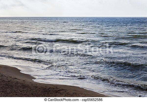 Seascape on the Baltic Sea coast in spring. - csp55652586