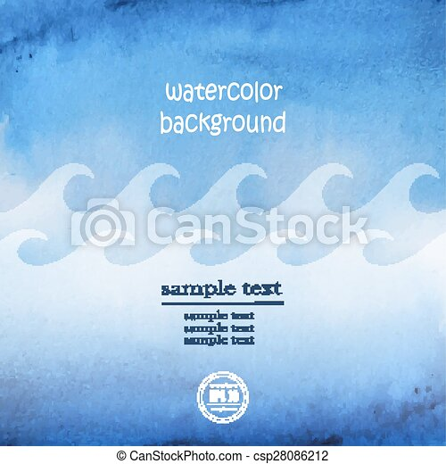 Seascape vector. Abstract wave blue watercolor background - csp28086212