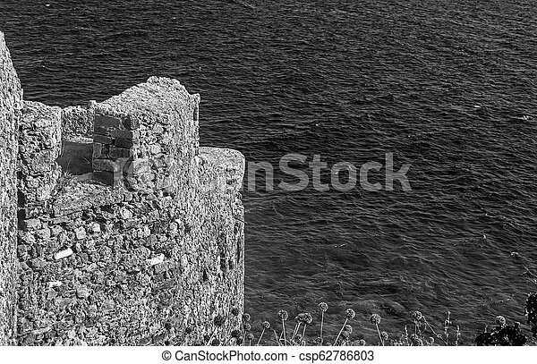 seascape view from the castle of Monemvasia Peloponnese Greece - black and white photography - csp62786803