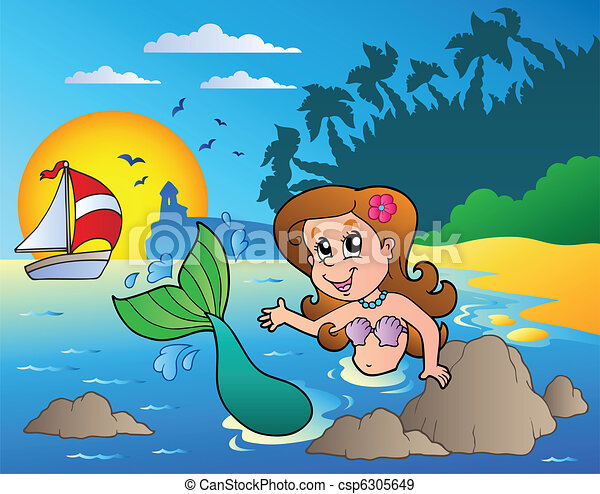 Seascape with swimming mermaid - csp6305649