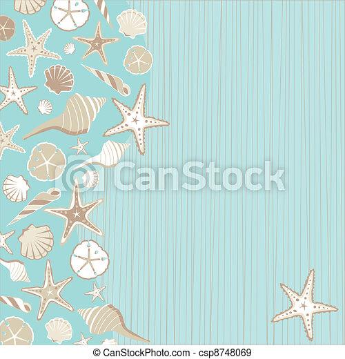 Seashell Beach party invitation  - csp8748069