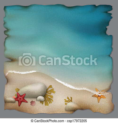 Seashore with stones and starfishes on retro paper - csp17972205