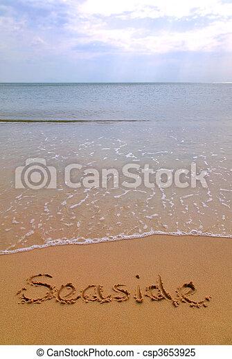 Seaside in sand vertical - csp3653925
