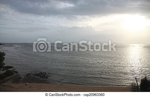 seaside of sunset in the evening on sea. - csp20963360