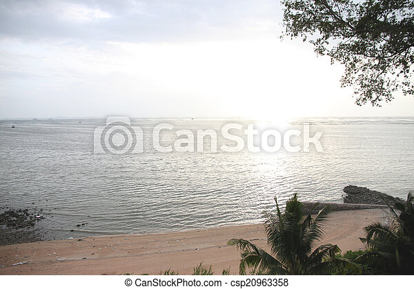seaside of sunset in the evening on sea. - csp20963358
