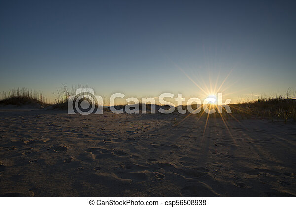 Seaside sand dunes colorful sky at sunset - csp56508938