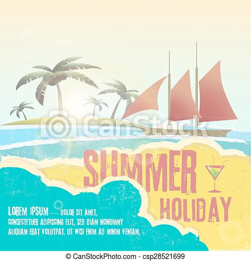 Seaside view poster. Vector background. - csp28521699