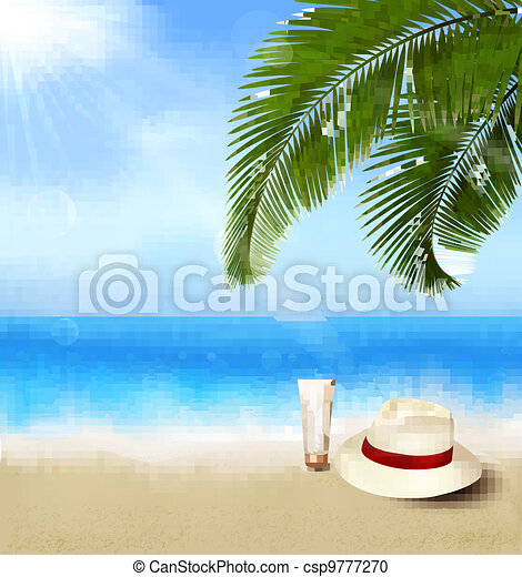 Seaside view with palm leaves - csp9777270