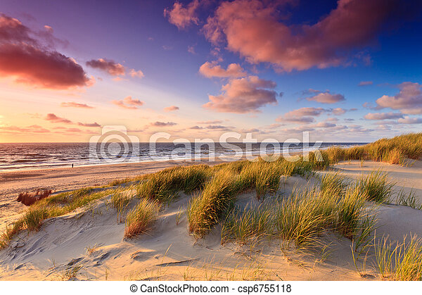 Seaside with sand dunes at sunset - csp6755118
