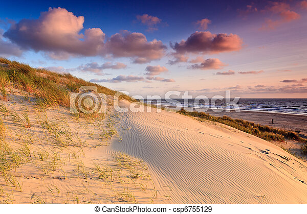 Seaside with sand dunes at sunset - csp6755129