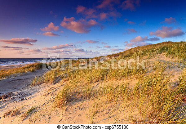 Seaside with sand dunes at sunset - csp6755130