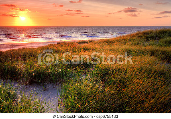 Seaside with sand dunes at sunset - csp6755133