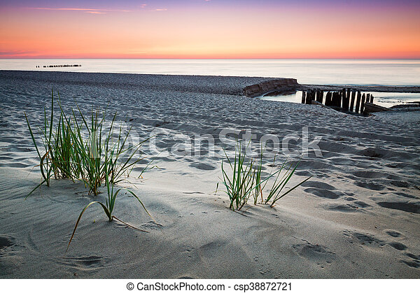 Seaside with tuft of grass, sand dunes and colorful sky at sunset. - csp38872721