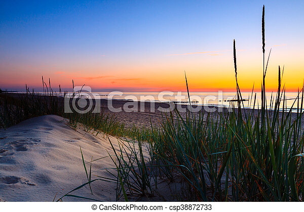 Seaside with tuft of grass, sand dunes and colorful sky at sunset. - csp38872733
