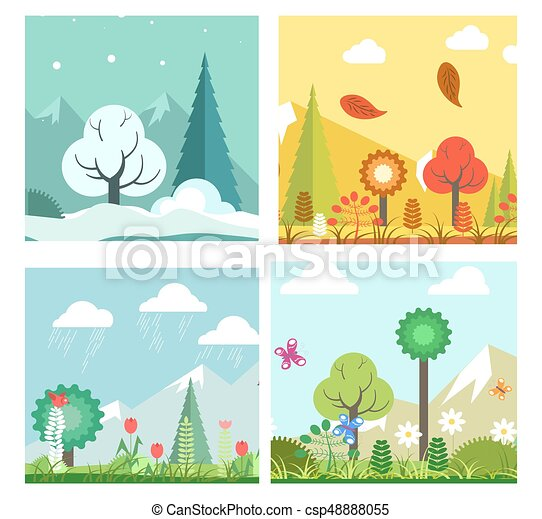 Season Change In Forest Vector Illustration Of Different
