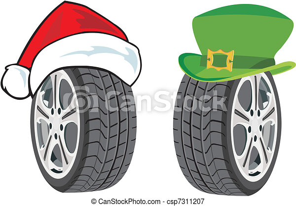 season tire winter tyre in santa hat and summer tyre in free leprechaun clipart 3d images free leprechaun clipart