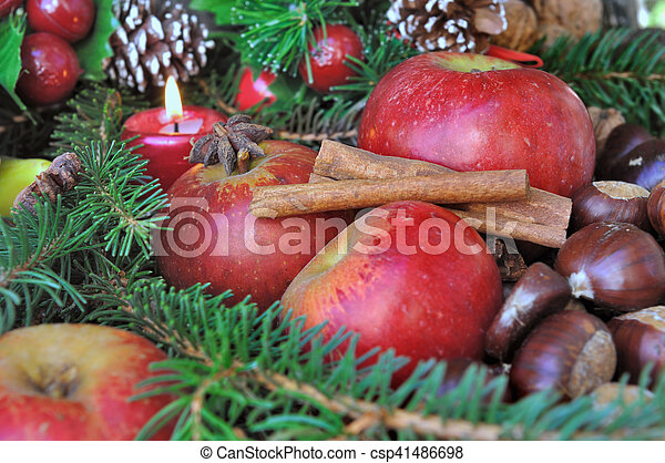 seasonal fruit and spices for holidays - csp41486698