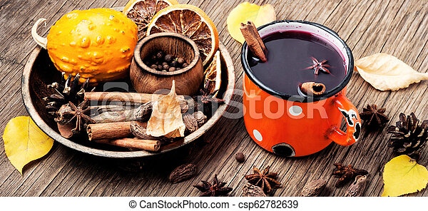 Seasonal warming drink mulled wine - csp62782639