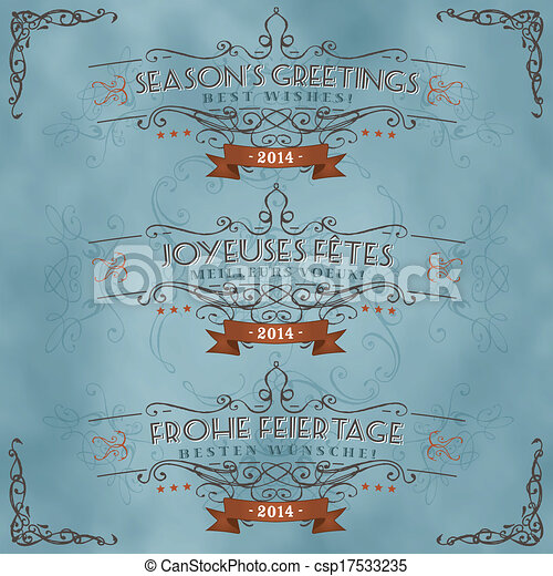 Seasons greetings and best wishes illustration of a set of vintage seasons greetings and best wishes csp17533235 m4hsunfo