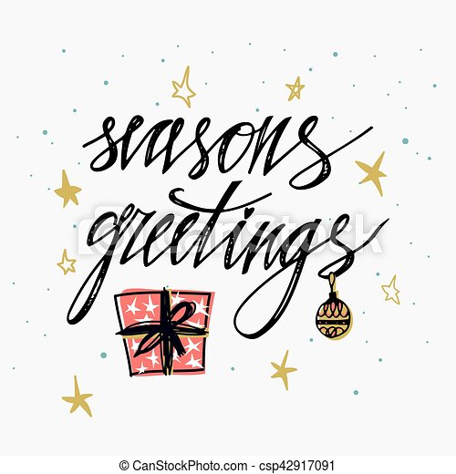 Season\'s greetings card. hand lettering calligraphic inscription by ...