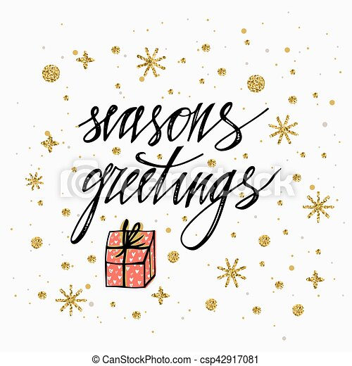 Seasons greetings card with gold glitter snowflake stars and seasons greetings card with gold glitter snowflake stars and christmas present hand lettering calligraphic inscription by brush for christmas m4hsunfo