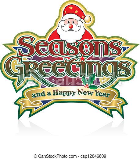 seasons greetings santa seasons greetings lettering with vector rh canstockphoto com seasons greetings clipart free christmas seasons greetings clipart