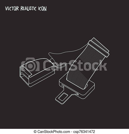 Seat belt icon line element. Vector illustration of seat belt icon line isolated on clean background for your web mobile app logo design. - csp76341472