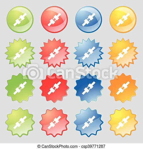 seat belt icon sign. Big set of 16 colorful modern buttons for your design. Vector - csp39771287