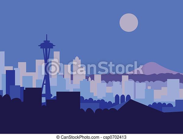 Seattle at Night - csp0702413