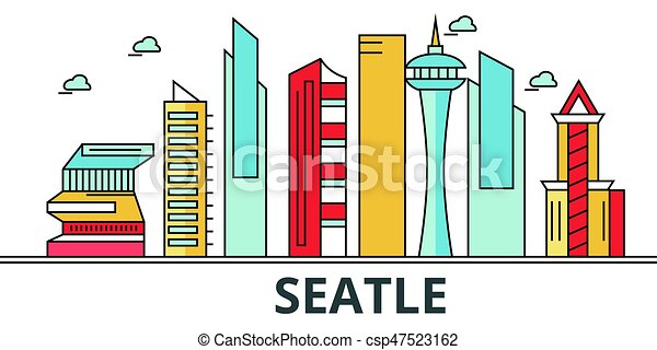 Seattle city skyline. Buildings, streets, silhouette, architecture, landscape, panorama, landmarks. Editable strokes. Flat design line vector illustration concept. Isolated icons on white background - csp47523162