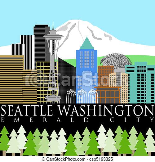 Seattle Downtown Skyline with Mount Rainier Color - csp5193325