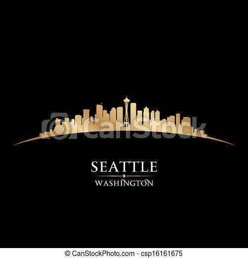 Seattle Washington City Skyline silueta fondo negro - csp16161675