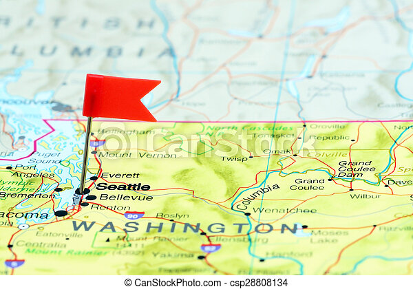 Seattle Pinned On A Map Of Usa Photo Of Pinned Seattle On A Map