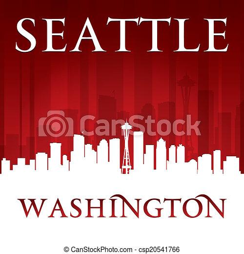 Seattle Washington City Skyline silueta rojo fondo - csp20541766