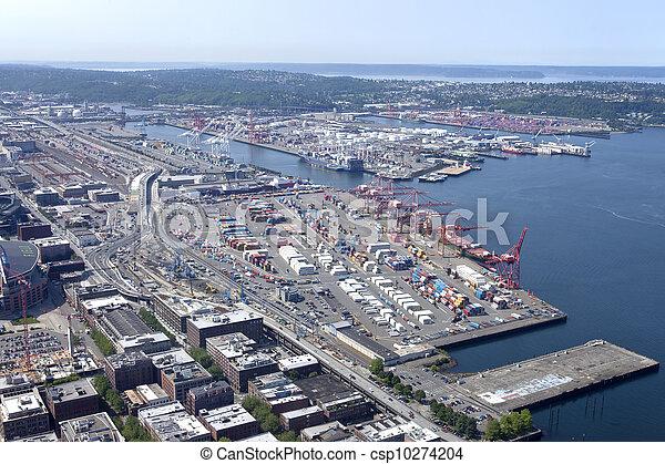 seattle, port, washington. - csp10274204