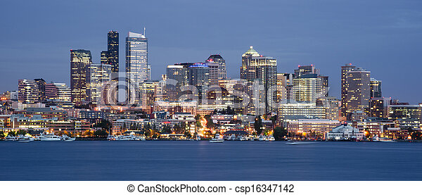Seattle Skyline Downtown Office Buildings Nautical Transport - csp16347142