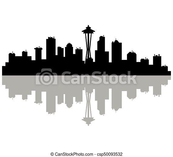 seattle skyline rh canstockphoto com seattle skyline silhouette vector seattle skyline silhouette vector