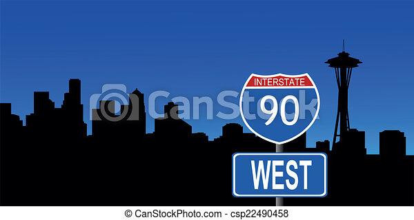 Seattle skyline interstate sign - csp22490458