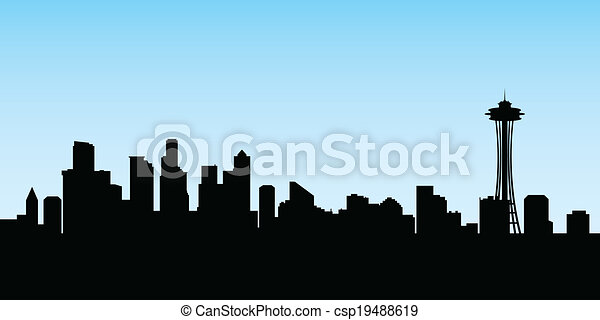 seattle skyline skyline silhouette of the city of seattle rh canstockphoto com seattle skyline silhouette vector seattle city skyline vector free