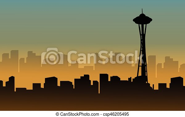 seattle space needle tower scenery silhouettes vector illustration