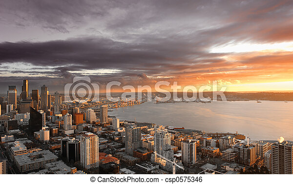 Seattle Sunset - csp0575346