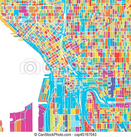image regarding Printable Map of Seattle named Seattle, Washington, United states of america, Colourful Vector Map