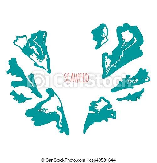 Seaweed vector logo template. monochrome version. Seaweed, coral ...